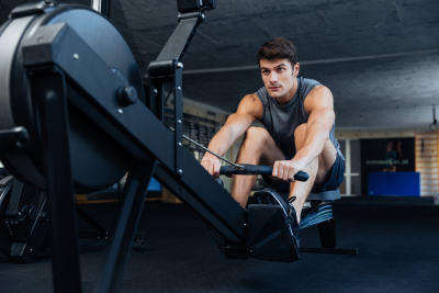 man having an exercise at the gym